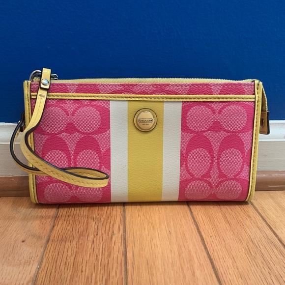 Coach Handbags - Coach Signature Stripe PVC Zippy Wallet Wristlet